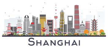 Horizon de ville de Changhaï Chine avec des bâtiments de couleur d'isolement sur Whi illustration libre de droits