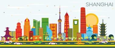 Horizon de ville de Changhaï Chine avec les bâtiments de couleur et le ciel bleu illustration libre de droits