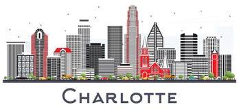 Horizon de ville de Charlotte OR avec Gray Buildings Isolated sur le blanc illustration de vecteur