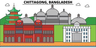 Horizon de ville d'ensemble de Chitagong, Bangladesh, illustration linéaire, bannière, point de repère de voyage, silhouette de b Image libre de droits