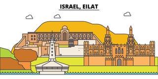 Horizon de ville d'ensemble de l'Israël, Eilat, illustration linéaire, bannière, point de repère de voyage, silhouette de bâtimen illustration de vecteur