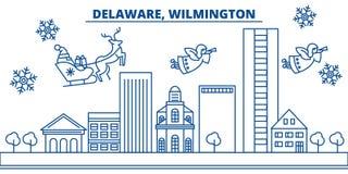 Horizon de ville d'hiver des Etats-Unis, Delaware, Wilmington Le Joyeux Noël et la bonne année ont décoré la bannière salutation  Illustration de Vecteur
