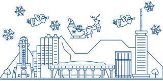 Horizon de ville d'hiver des Etats-Unis, Hawaï, Honolulu Le Joyeux Noël et la bonne année ont décoré la bannière Carte de voeux d illustration stock
