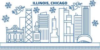 Horizon de ville d'hiver des Etats-Unis, l'Illinois, Chicago Le Joyeux Noël et la bonne année ont décoré la bannière Carte de voe illustration de vecteur