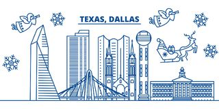 Horizon de ville d'hiver des Etats-Unis, le Texas, Dallas Le Joyeux Noël et la bonne année ont décoré la bannière Carte de voeux  illustration libre de droits