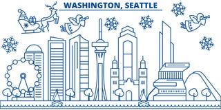 Horizon de ville d'hiver des Etats-Unis, Washington, Seattle Le Joyeux Noël et la bonne année ont décoré la bannière Carte de voe illustration libre de droits