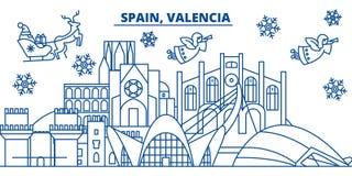 Horizon de ville d'hiver de l'Espagne, Valence Joyeux Noël, heureux Photographie stock libre de droits