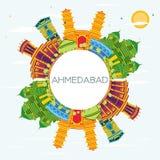 Horizon de ville d'Inde d'Ahmedabad avec des bâtiments de couleur, ciel bleu et Illustration de Vecteur