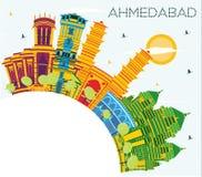 Horizon de ville d'Inde d'Ahmedabad avec des bâtiments de couleur, ciel bleu et Illustration Stock