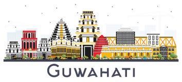 Horizon de ville d'Inde de Guwahati avec des bâtiments de couleur d'isolement sur Whi Photos libres de droits