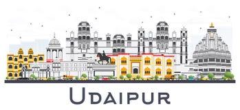 Horizon de ville d'Inde d'Udaipur avec des bâtiments de couleur d'isolement sur Pentecôte illustration libre de droits