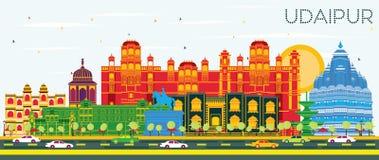 Horizon de ville d'Inde d'Udaipur avec les bâtiments de couleur et le ciel bleu illustration stock