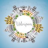 Horizon de ville d'Inde d'Udaipur avec les bâtiments de couleur, le ciel bleu et la Co illustration libre de droits