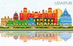 Horizon de ville d'Inde d'Udaipur avec les bâtiments de couleur, le ciel bleu et le Re illustration de vecteur