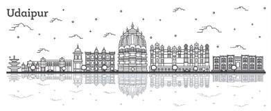 Horizon de ville d'Udaipur Inde d'ensemble avec les bâtiments historiques et réflexions d'isolement sur le blanc illustration stock