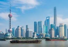 Horizon de ville de Changhaï, sur Bund, Changhaï, Chine images libres de droits