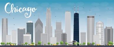 Horizon de ville de Chicago avec les gratte-ciel gris et le ciel bleu illustration stock