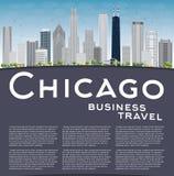 Horizon de ville de Chicago avec les gratte-ciel gris, le ciel bleu et le PS de copie illustration stock