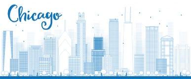 Horizon de ville de Chicago d'ensemble avec les gratte-ciel bleus illustration stock