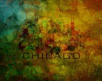 Horizon de ville de Chicago sur l'illustration grunge de fond Images libres de droits