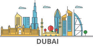Horizon de ville de Dubain illustration stock