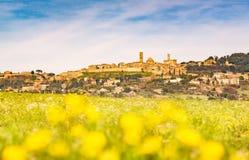 Horizon de ville de la Toscane, du Volterra et champ des fleurs dans le springtim photographie stock libre de droits