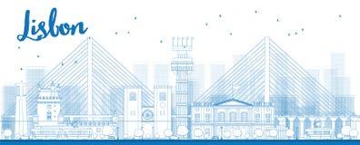 Horizon de ville de Lisbonne d'ensemble avec les bâtiments bleus illustration de vecteur