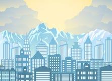 Horizon de ville de matin illustration de vecteur