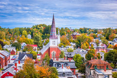Horizon de ville de Montpellier, Vermont Photos stock