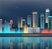 Horizon de ville de nuit avec les lampes au néon Ville moderne Vecteur Images stock