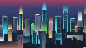 Horizon de ville de nuit avec les lampes au néon Ville moderne Vecteur Photo libre de droits