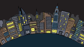 Ville de vecteur la nuit Illustration Libre de Droits