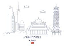 Horizon de ville de Guangzhou, Chine illustration libre de droits