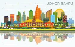 Horizon de ville de Johor Bahru Malaisie avec les bâtiments de couleur, le ciel bleu et les réflexions illustration de vecteur