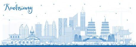 Horizon de ville de Kaohsiung Taïwan d'ensemble avec les bâtiments bleus illustration stock