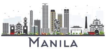 Horizon de ville de Manille Philippines avec Gray Buildings Isolated dessus illustration libre de droits