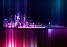 Horizon de ville de nuit Fond de paysage urbain de vecteur Images libres de droits