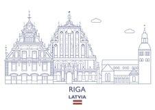 Horizon de ville de Riga, Lettonie illustration stock