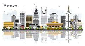 Horizon de ville de Riyadh Arabie Saoudite avec Gray Buildings Isolated dessus illustration de vecteur