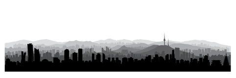 Horizon de ville de Séoul, république de Corée du sud Horizon urbain coréen illustration stock