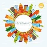 Horizon de ville de Sacramento Etats-Unis avec les bâtiments de couleur, le ciel bleu et le C illustration de vecteur
