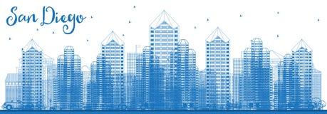 Horizon de ville de San Diego California Etats-Unis d'ensemble avec le bâtiment bleu illustration de vecteur