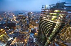 Horizon de ville de Seattle au crépuscule Paysage urbain du centre de Seattle images libres de droits
