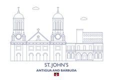 Horizon de ville de St Johns, Antigua-et-Barbuda Photos stock