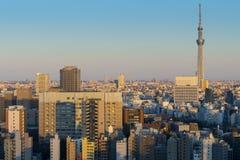 Horizon de ville de Tokyo au district des affaires pendant le coucher du soleil photographie stock libre de droits