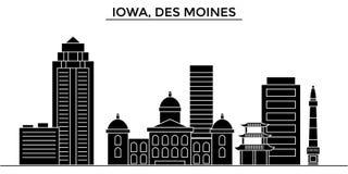 Horizon de ville de vecteur d'architecture des Etats-Unis, Iowa, Des Moines Images libres de droits