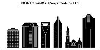 Horizon de ville de vecteur d'architecture des Etats-Unis, la Caroline du Nord, Charlotte, paysage urbain de voyage avec des poin Photo stock
