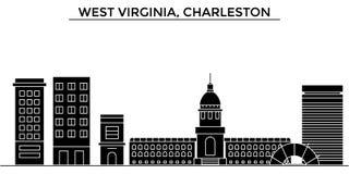 Horizon de ville de vecteur d'architecture des Etats-Unis, la Virginie Occidentale, Charleston Images libres de droits