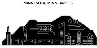 Horizon de ville de vecteur d'architecture des Etats-Unis, Minnesota, Minneapolis, paysage urbain de voyage avec des points de re Photographie stock libre de droits