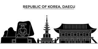 Horizon de ville de vecteur d'architecture de la république de Corée, Daegu, paysage urbain de voyage avec des points de repère,  Photos stock